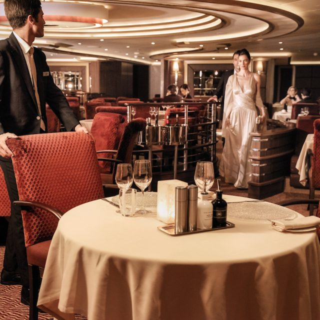 World Cruise with Silversea Guests entering the Atlantide Restaurant, Silver Muse