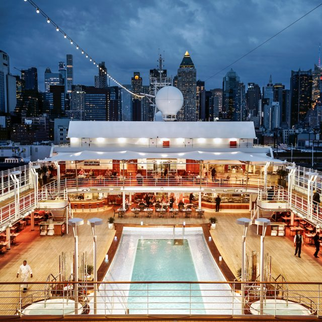 World Cruise with Silversea View of New York city from the ship, Silver Muse