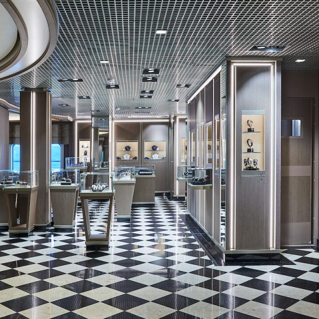 World Cruise with Silversea The boutique, where to enjoy a luxury shopping experience.