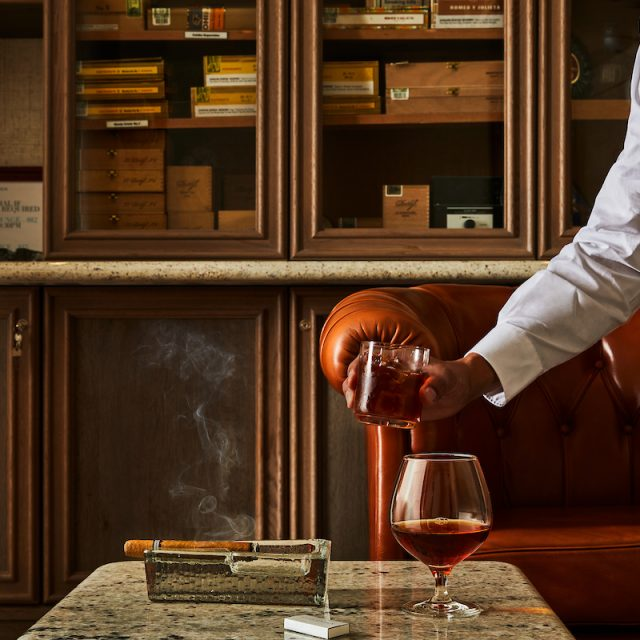 World Cruise with Silversea Serving cognac in the Connoisseur's Corner.