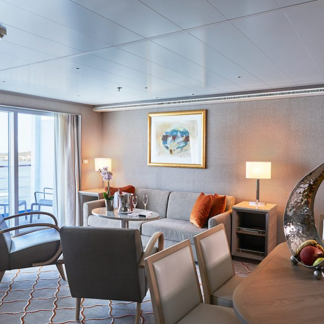 World Cruise with Silversea Living room area of the Grand Suite.