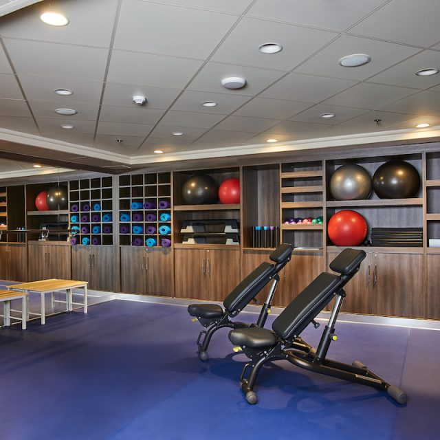 World Cruise with Silversea The Gym studio of the Fitness Center.