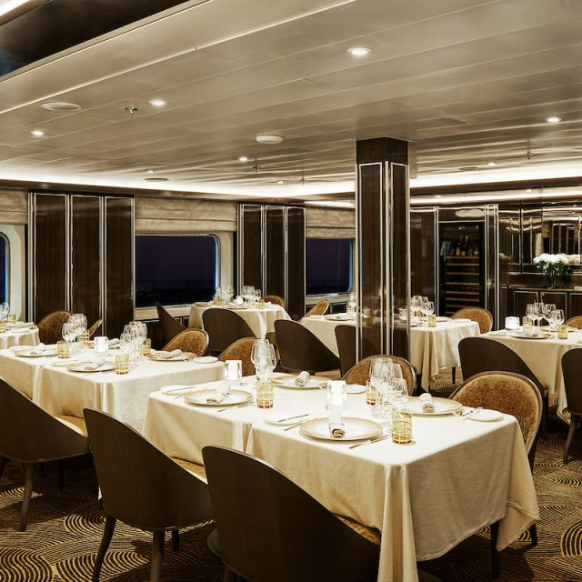 World Cruise with Silversea The elegant interiors of the restaurant La Dame. Silver Shadow