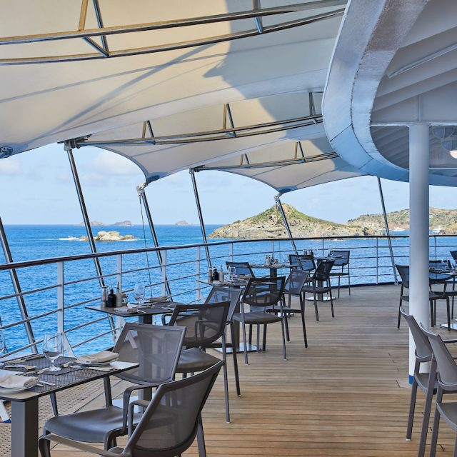 World Cruise with Silversea Enjoying a lunch with a view in La Terrazza, Silver Shadow.
