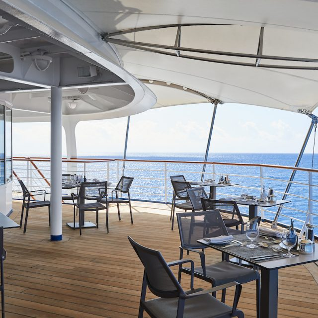 World Cruise with Silversea Lunch outside in La Terrazza.