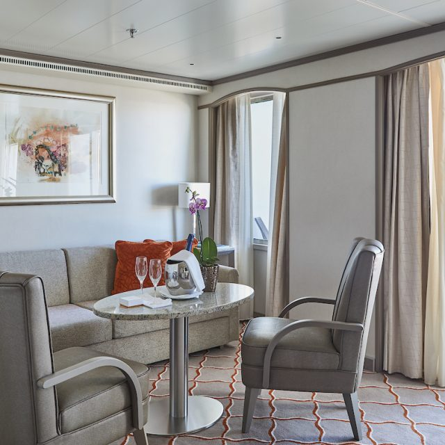 World Cruise with Silversea Living Room of the Medallion Suite.