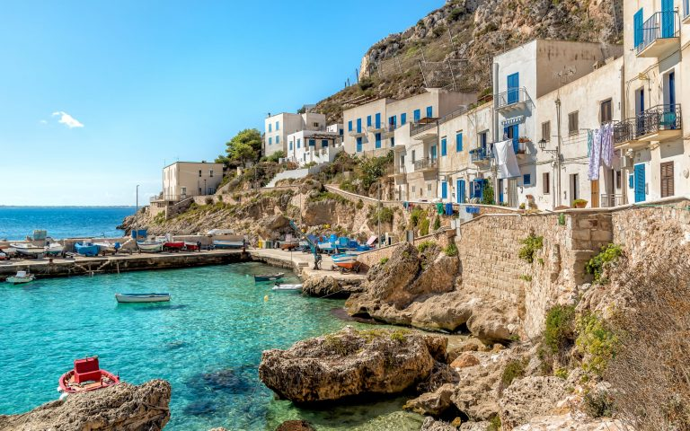 View of Levanzo Island, is the smallest of the three Aegadian islands in the Mediterranean sea of Sicily, Trapani, Italy