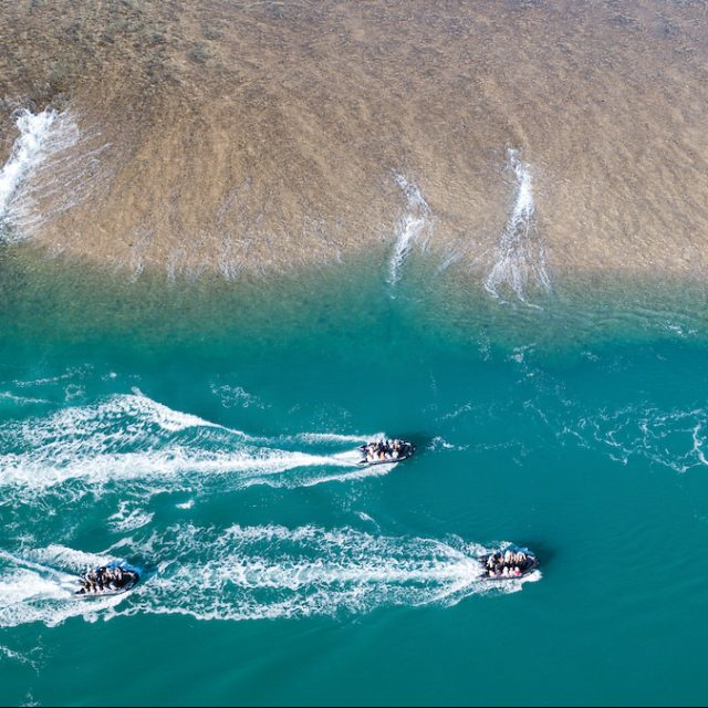 Cairns to Sydney with Silversea Zodiac cruise at Mongomery Reef from the top, Kimberley - Darwin to Broome