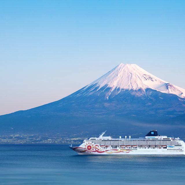 Japan: Osaka, Busan, Beppu & Shimizu Mountain Fuji and sea from Izu city Shizuoka prefecture , Japan